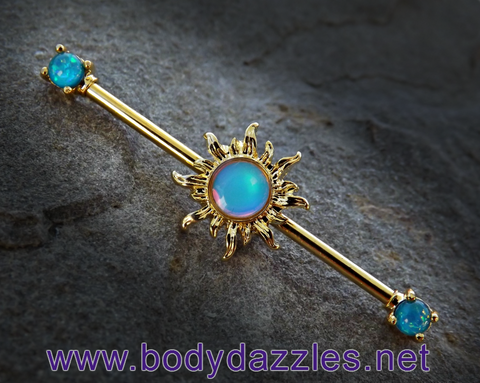 Gold Sun Industrial Barbell Teal Opal Ends 14ga Surgical Stainless Steel Body Jewelry Scaffold Bar - BodyDazzle - 1