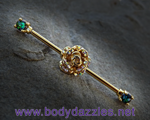 Gold Rose Rhinestone Industrial Barbell Green Opal Ends 14ga Surgical Stainless Steel Body Jewelry Scaffold Bar - BodyDazzle - 1