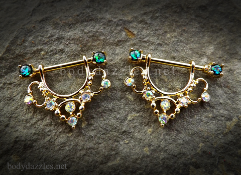 Set of Golden Elegant Sparkling Green Opal Ends Filigree Dangle Nipple Shield Ring Body Jewelry 14ga Surgical Steel