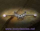 Butterfly with Opal Ends Industrial Barbell 14ga Surgical Steel Scaffold Bar Body Jewelry - BodyDazzle - 2