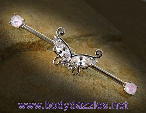 Butterfly with Opal Ends Industrial Barbell 14ga Surgical Steel Scaffold Bar Body Jewelry - BodyDazzle - 1