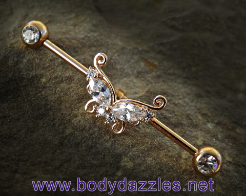 Rose Gold Butterfly with Opal Ends Industrial Barbell 14ga Surgical Steel Scaffold Bar Body Jewelry - BodyDazzle