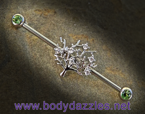 Tree of Life Green Rhinestone Ends Industrial Barbell Scaffold Piercing 14ga Body Jewelry Piercing Jewelry 316L Surgical Stainless Steel - BodyDazzle - 1
