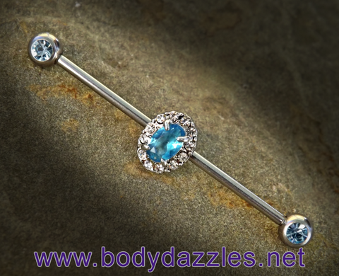 Aqua Rhinestone Oval Industrial Barbell 14ga Surgical Steel Scaffold Bar Body Jewelry - BodyDazzle - 1