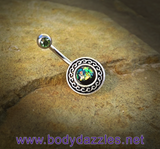 Green Glitter Opal Belly Button Ring Surgical Stainless Steel 14ga Navel Ring - BodyDazzle - 2