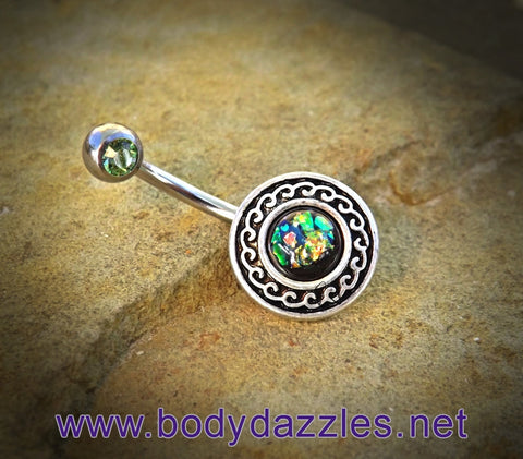 Green Glitter Opal Belly Button Ring Surgical Stainless Steel 14ga Navel Ring - BodyDazzle - 1