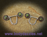 Set of Green Opal Glitter Sparkling Nipple Rings 14ga Surgical Steel Nipple Barbell - BodyDazzle - 2