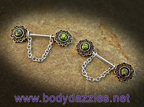 Set of Green Opal Glitter Sparkling Nipple Rings 14ga Surgical Steel Nipple Barbell - BodyDazzle - 1