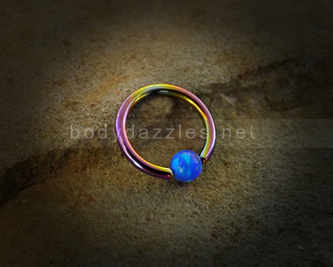 Rainbow Hoop Blue Opal Captive Hoop 16ga Surgical Steel Cartilage Tragus Heliz Conch