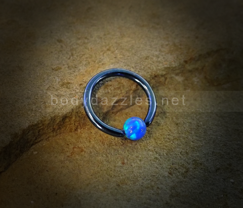 Blue Hoop Blue Opal Captive Hoop 16ga Surgical Steel Cartilage Tragus Heliz Conch