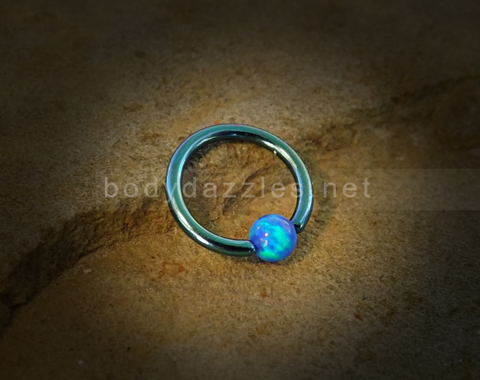 Green Hoop Blue Opal Captive Hoop 16ga Surgical Steel Cartilage Tragus Heliz Conch