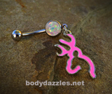 Pink Browning Glitter Opal White Belly Button Navel Ring 14ga