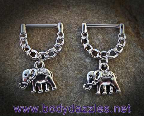 Set of Elephant Nipple Clicker Nipple Rings 14ga Surgical Steel Nipple Barbell - BodyDazzle