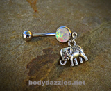 Cute Elephant Glitter Opal White Belly Button Navel Ring 14ga