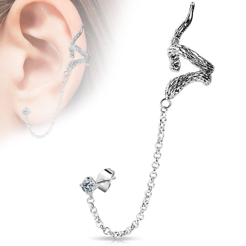 Snake Design ear Cuff with Chain Linked Clear CZ  Stud Ear Rings Clip On Ear Jewelry - BodyDazzle