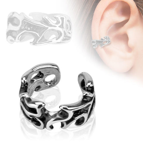 Tribal Ear Cuff Silver Clip on Non Piercing Body Jewelry Rhodium Plated Fake Piercing Jewelry - BodyDazzle - 2
