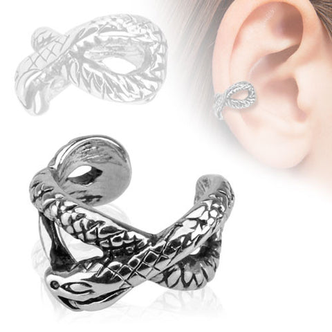 Ear Cuff Silver Snake  Clip on Non Piercing Body Jewelry Rhodium Plated Fake Piercing Jewelry - BodyDazzle