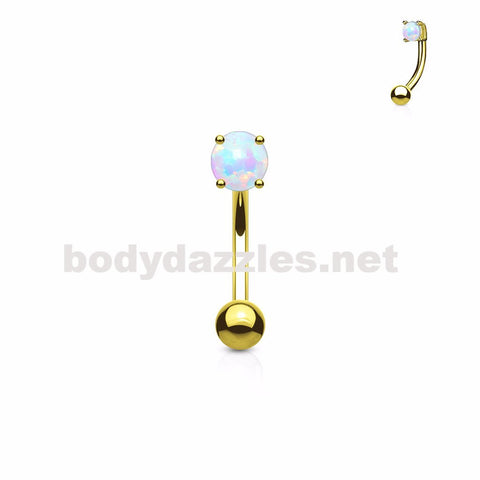 Gold Opal Prong Set Top 3mm Surgical Steel Eyebrow Rings Petite Belly Rings