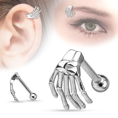 Skeleton Hand Top  Surgical Steel Eyebrow Cartilage Barbell Helix Body Jewelry - BodyDazzle