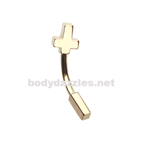 Golden Cross Curved Barbell Eyebrow Ring Rook Daith Ring 16ga Body Jewelry
