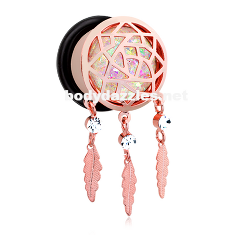 Rose Gold Opal Sparkle Dreamcatcher Single Flared Ear Gauge Plug - BodyDazzle