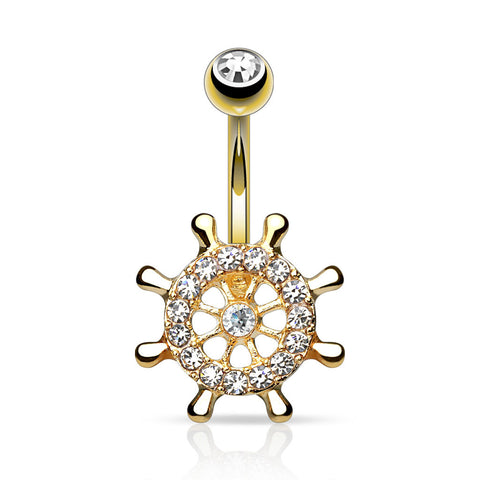 Ship Wheel Belly Ring Navel Ring Gold Body Jewelry 14ga Surgical Steel Yatch Wheel - BodyDazzle