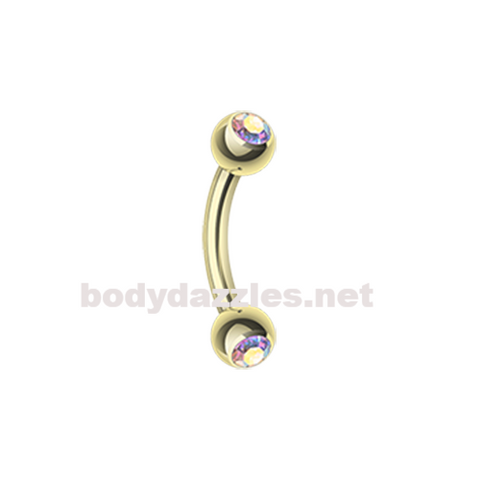Gold Plated Double Gem Ball Curved Barbell Eyebrow Ring Rook Daith Ring 16ga Body Jewelry