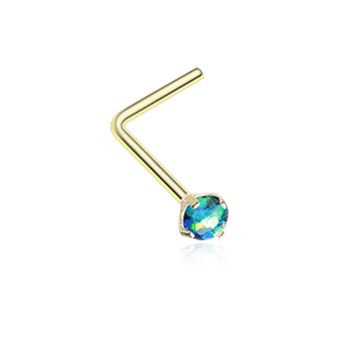 Gold Dark Green Opal Sparkle Prong Set L-Shaped Nose Ring 20ga Body Jewelry - BodyDazzle