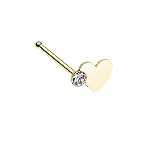 Gold Heart Sparkle Nose Stud Ring 20ga Surgical Steel Body Jewelry - BodyDazzle