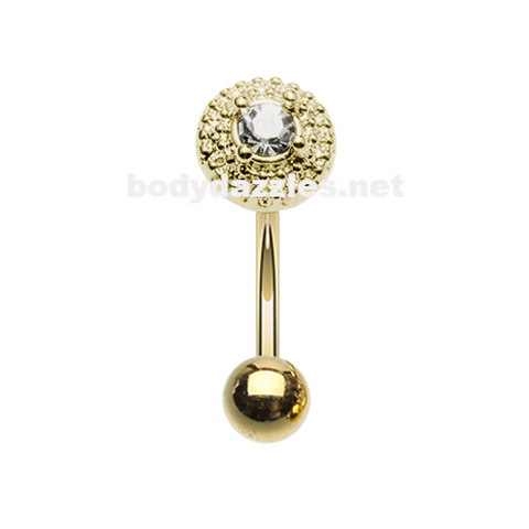 Golden Grand Royal Gem Ball Curved Barbell Eyebrow Ring Rook Daith Ring 16ga Body Jewelry - BodyDazzle