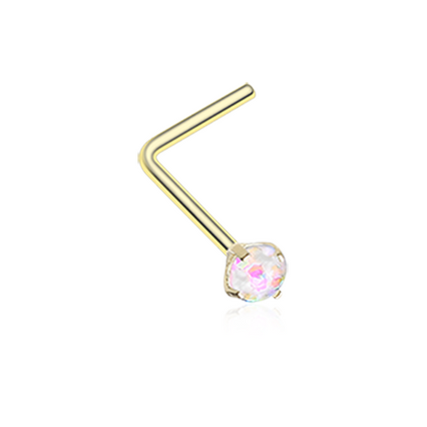 Golden Opal Sparkle Prong Set L-Shaped Nose Ring 20ga Body Jewelry - BodyDazzle