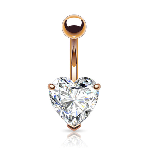 Prong Set Heart Belly Button Ring CZ Rose Gold Plated Navel Ring 14ga - BodyDazzle