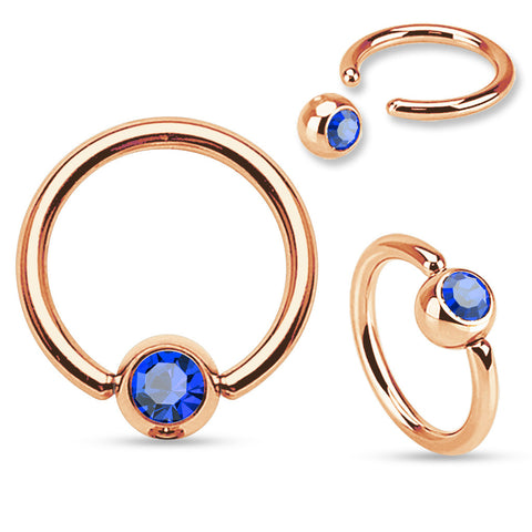 Rose Gold Captive Hoop 16ga Stainless Steel Body Jewelry Blue Gem - BodyDazzle