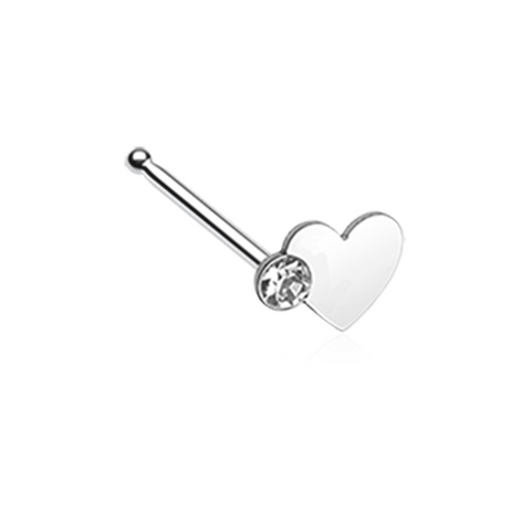 Silver Heart Sparkle Nose Stud Ring 20ga Surgical Steel Body Jewelry - BodyDazzle