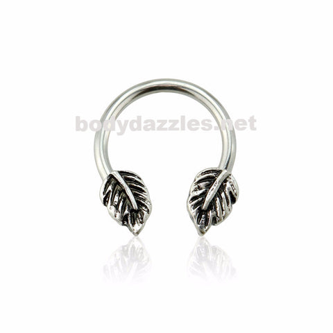 Antique Silver Double Leaves 316L Surgical Stainless Steel Horseshoe 16ga - BodyDazzles