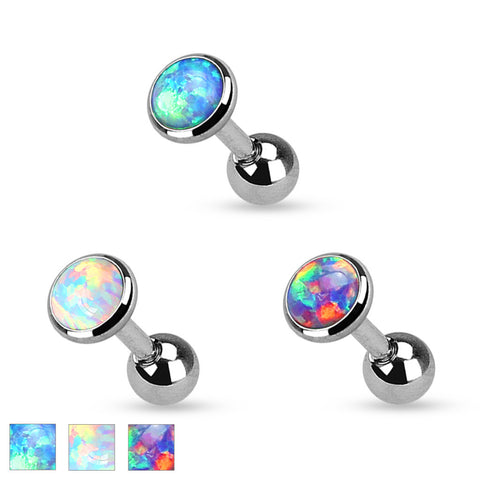 Opal Set Flat Top  3l6L Surgical Steel Cartilage Tragus Helix 16ga Barbell Body Jewelry - BodyDazzle