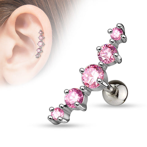 Pink Journey Curve 5 Gems Tragus/Cartilage Piercing Stud 316L Surgical Steel Helix Body Jewelry - BodyDazzle - 1