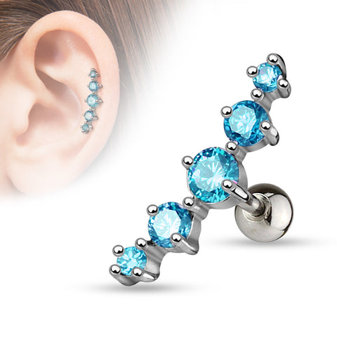 Blue Journey Curve 5 Gems Tragus/Cartilage Piercing Stud 316L Surgical Steel Helix Body Jewelry - BodyDazzle - 1