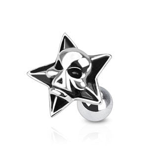 Devil Skull Inside Star Tragus Helix Cartilage Piercing Stud 316L Surgical Steel 16ga Body Jewelry - BodyDazzle
