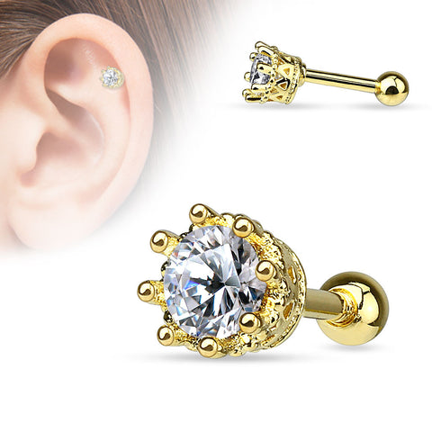 Gold Vintage Style 8 Prong Set CZ  Cartilage 16ga Tragus Helix Barbell 316L Surgical Steel Body Jewelry - BodyDazzle
