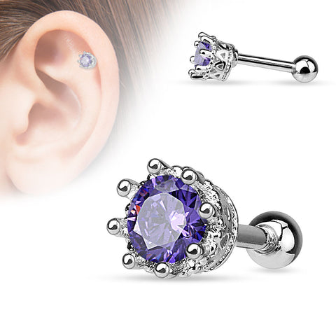 Purple Vintage Style 8 Prong Set CZ  Surgical Steel Cartilage Tragus 16ga Helix Barbell 316L Surgical Steel - BodyDazzle