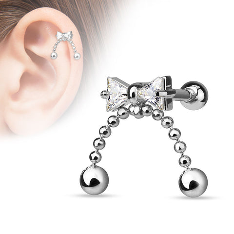 Bow Cartilage Tragus Helix Earring 16ga 316L Surgical Steel Upper Ear Helix Body Piercing Jewelry - BodyDazzle