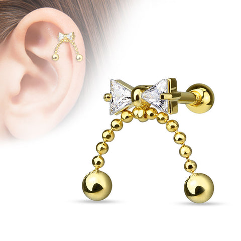 Bow Cartilage Tragus Helix Earring Gold 16ga 316L Surgical Steel Upper Ear Helix Body Piercing Jewelry - BodyDazzle