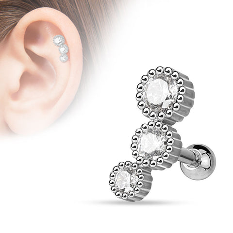 3 Bezel Cubic Zarconia Tragus Cartilage 16ga Helix Barbell  316L Surgical Steel Body Jewelry - BodyDazzles