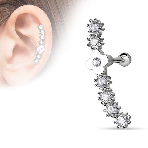 Flower Centered Lined CZ Set  316L Surgical Steel Cartilage Tragus Barbell 16ga Body Jewelry - BodyDazzle