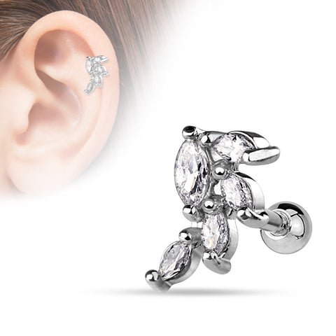 Marquise CZ Cluster Vine Surgical Steel Cartilage Tragus Bar Helix Body Jewelry 316L Surgical Steel 16ga - BodyDazzle