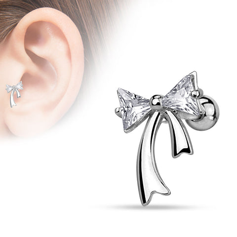 Triangle CZ Bow 316L Surgical Steel Cartilage 16ga Tragus Bar Ear Jewelry Helix Piering - BodyDazzle