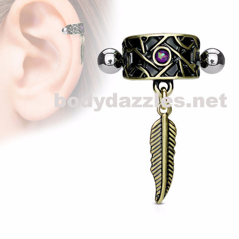 Blue Opal Centered Antique Gold IP  with Feather Dangle Ear Cartilage/Helix Cuff 316L Surgical Steel Barbells