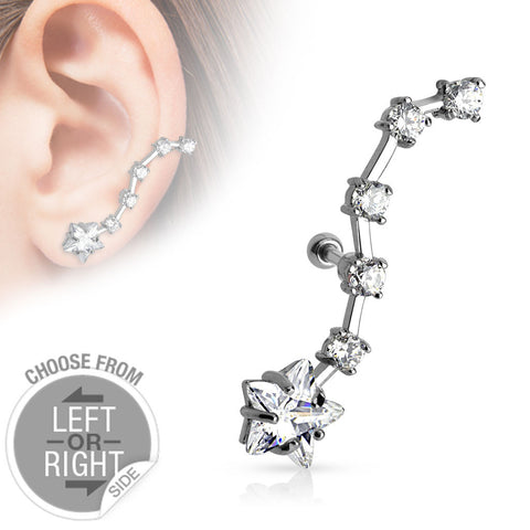 Large Star CZ with Long CZ Trail Cartilage/Tragus Piercing Barbell 16ga Surgical Stainless Steel Body Jewelry - BodyDazzle - 1
