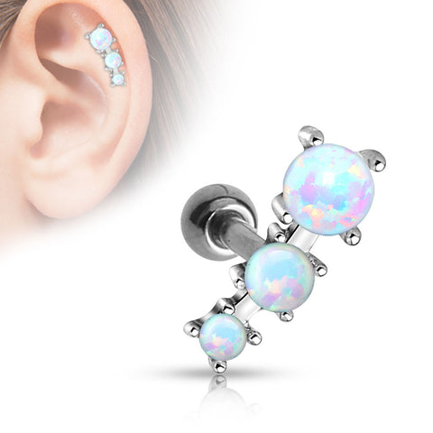 Triple White Opal Tragus Cartilage Helix  316L Surgical Steel  Barbell 16ga Body Jewelry - BodyDazzle